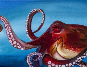 Red Octopus oil painting by Anthony Cavins 2013