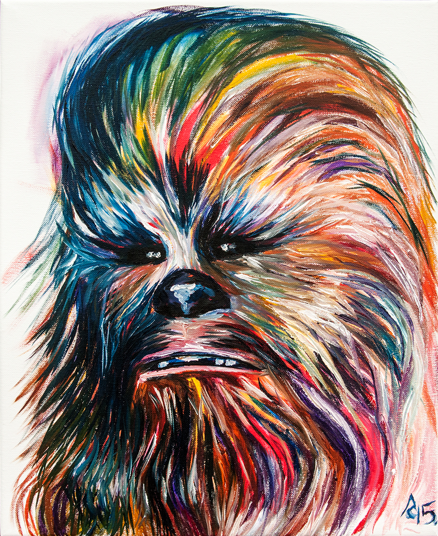 chewbacca fan art painting by Anthony Cavins