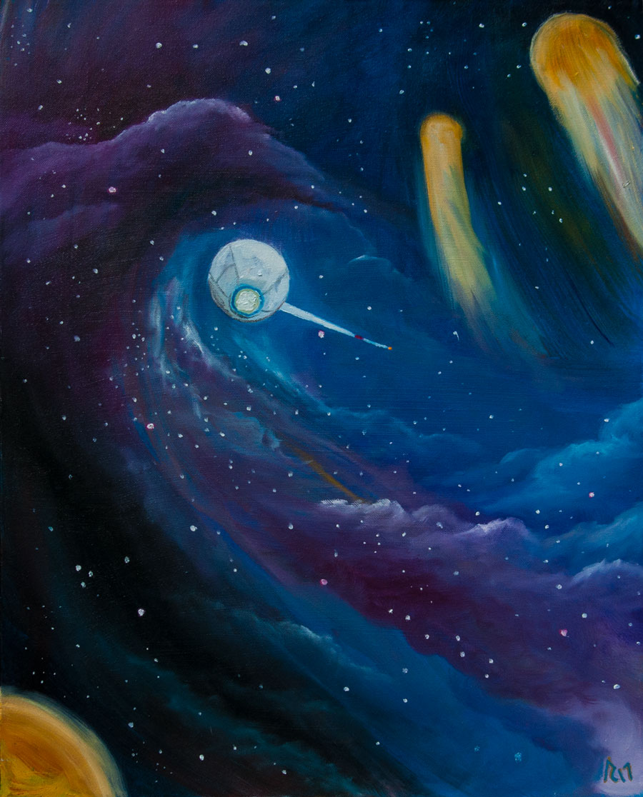 Into the Beyond science fiction oil painting by Artist Anthony Cavins
