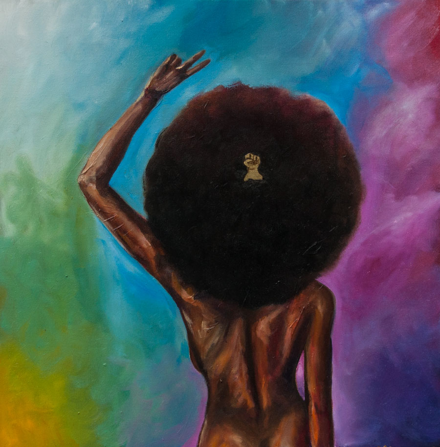 Woman with afro and peace sign on a colorful background. Oil painting by Artist Anthony Cavins